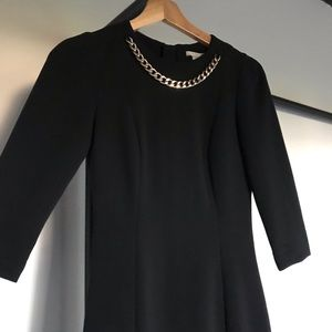 H&M Black Dress with Chain Necklace